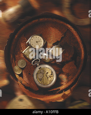 still life of broken watches time flies - Stock Photo