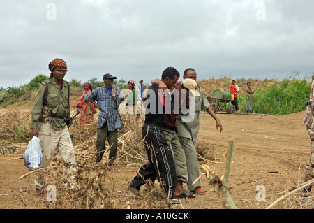Armed militia on Technical support vehicle  patrol in Lower Shabelle area, Southern Somalia. - Stock Photo