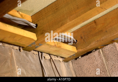 BUILDING AN EXTENSION JOISTS WITH NOGGINS AND ELECTRICITY CABLES - Stock Photo