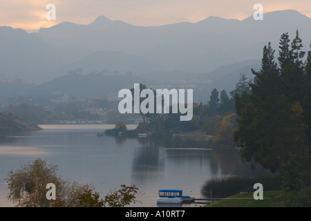 Lake Sherwood as the fog rolls in near sunset - Stock Photo