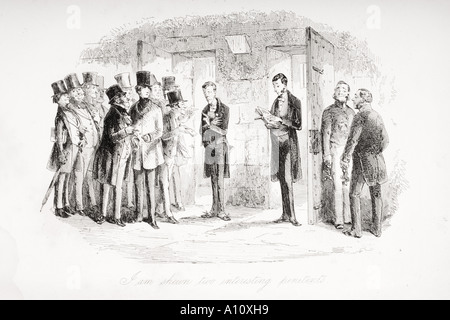 I am shown two interesting penitents. Illustration from the Charles Dickens novel David Copperfield by H K Browne - Stock Photo