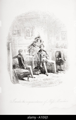 I make the acquaintance of Miss Mowcher. Illustration from the Charles Dickens novel David Copperfield by H K Browne - Stock Photo