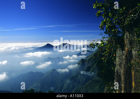 High view towards Pillar Rocks Valley in Kodaikanal Hill Station South India - Stock Photo