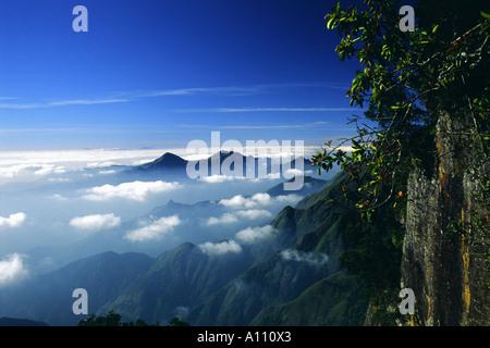 High view towards Pillar Rocks Valley in Kodaikanal Hill Station South India - Stock Photo