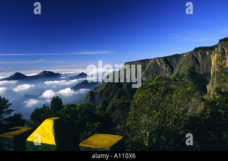 Bottom view towards Pillar Rocks Valley in Kodaikanal Hill Station South India - Stock Photo