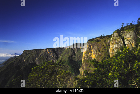 Bottom view towards Pillar Rocks Valley in Kodaikanal Hill Station South India - Stock Photo