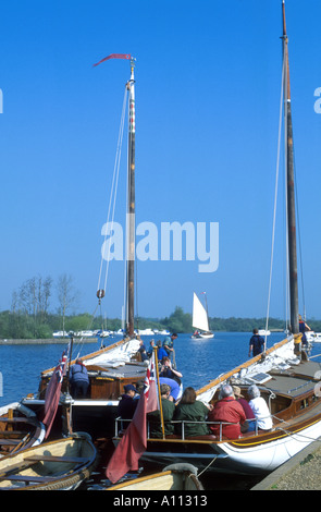 NORFOLK WHERRIES 'OLIVE', 'HATHOR', 'NORADA', MOORED AT  RANWORTH STAITHE, , NORFOLK,  EAST ANGLIA ENGLAND UK - Stock Photo