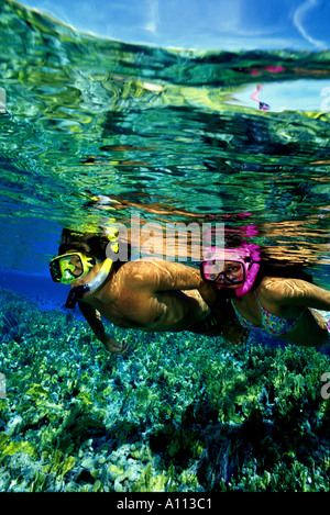 A PAIR OF SNORKELERS FLOATS OVER THE REEF IN THE CRYSTAL CLEAR WATER OF THE BAHAMAS - Stock Photo