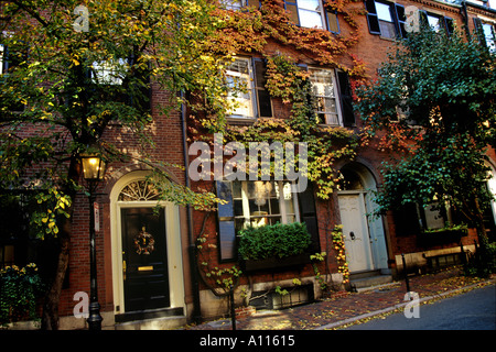 Ivy Covered Houses On Cedar Street Beacon Hill District Boston  Massachusetts USA   Stock Photo