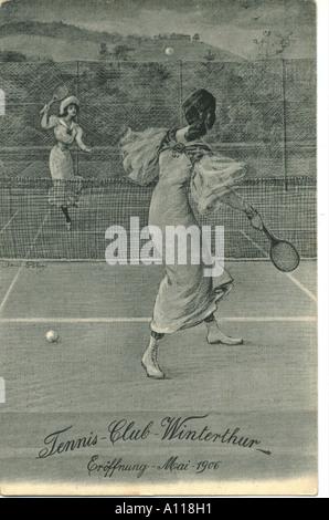 Opening of the Tennis Club, Winterthur, Switzerland 1906 - Stock Photo