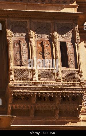 UGA75911 Zarokhas Patwon ki Haveli Jaisalmer Rajasthan India - Stock Photo