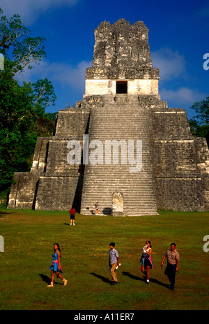 Temple of the Masks aka Pyramid 2 a Mayan temple in the Great Plaza in Tikal National Park in El Peten Department - Stock Photo
