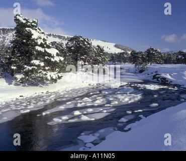Frozen River Dee Scotland - Stock Photo