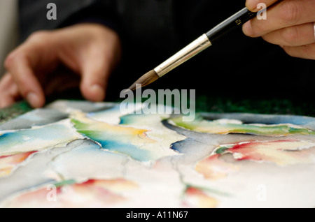 Brush over watercolor painting - Stock Photo