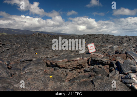 No parking sign on Lava covered road in Big Island Hawaii - Stock Photo