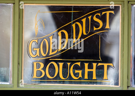 Gold dust bought old western sign at Old Tucson Studios - Stock Photo