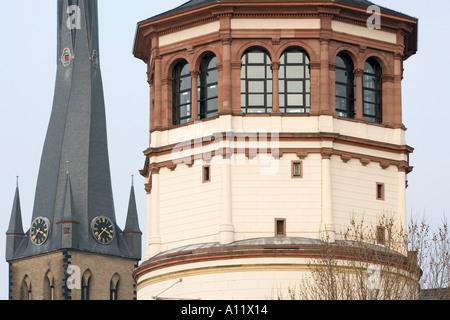SchiffahrtMuseum shipping museum in Dusseldorf Germany with ST LAMBERTUS BASILICA behind Stock Photo