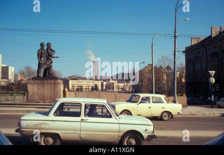 Socialist realist statues on the Green Bridge, Vilnius, Lithuania - Stock Photo