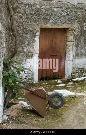 Rusty Wheelbarrow Sokraki, Corfu, Oct 2005 - Stock Photo