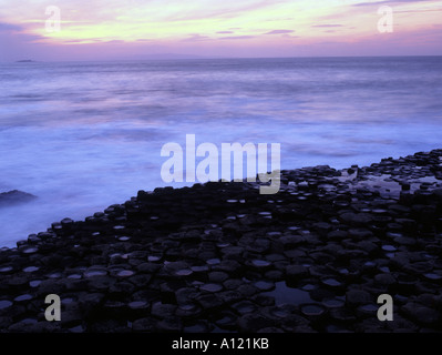 The stunning Giant's Causeway is internationally renowend on the coastline of Northern Ireland. - Stock Photo