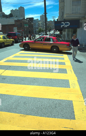 Taxicab on streets of San Francisco, California, USA - Stock Photo