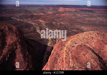 Aerial shot of Standley Chasm, Western Macdonnell Ranges, Alice Springs, Northern Territory, Australia - Stock Photo