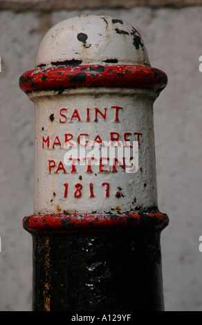Bollard outside the  church of St Margaret Pattens. - Stock Photo
