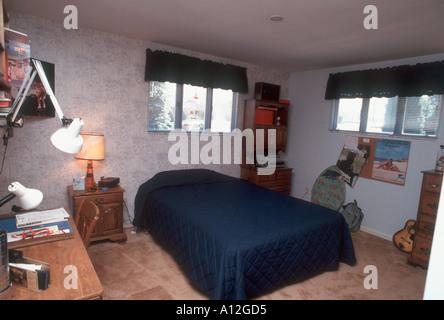 Pittsburgh PA USA 'American Single Family House' Interior [Male Teen's] Bedroom suburban house - Stock Photo