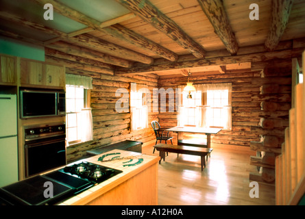 Pittsburgh PA ,USA, American Single Family House, Log Wood House, Interior Kitchen, New Build Homes - Stock Photo