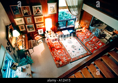 Pittsburgh, PA, USA American Single Family House, Interior Open Living Room, High Angle, suburban house - Stock Photo