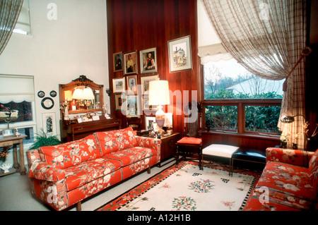 Pittsburgh, PA, USA Single Family House Inside Living Room, Interior Design - Stock Photo
