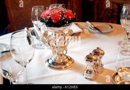 Paris France, French Haute Cuisine Restaurant, Detail, Table Setting in '5 Star' 'Hotel de Crillon' 'les Ambassadeurs' - Stock Photo