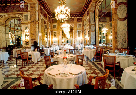 Paris France, French Haute Cuisine, Fancy,  Restaurant, 'Hotel de Crillon', Luxury Interiors, empty european interior, - Stock Photo