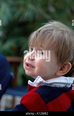 happy toddler looking out at sky mother Model released and Property released Image youth youthful vertical - Stock Photo