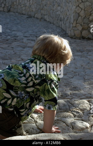 Boy crawling on patio in Hawaiian shirt model released beach ecology cancun akumal mexico ecosystem environment - Stock Photo