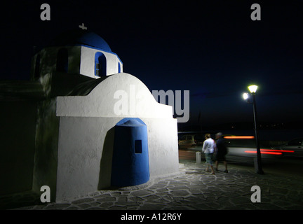 Small Greek Orthodox chapel in Parikia, Paros island, Greek Cyclades - Stock Photo
