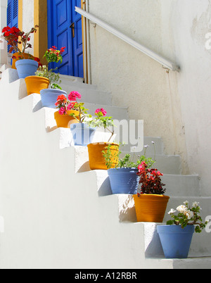 Colourful plant pots on steps of a house in the town of Naoussa, Paros island, Greek Cyclades - Stock Photo