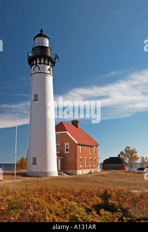 Au Sable Point Lighthouse in the U P of Michigan on Lake Superior - Stock Photo