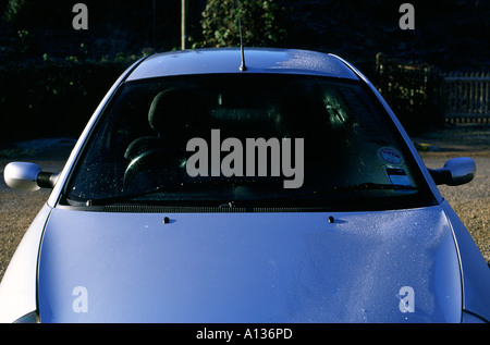 Ford Ka Windscreen Thawed Out From November Frost Stock Photo