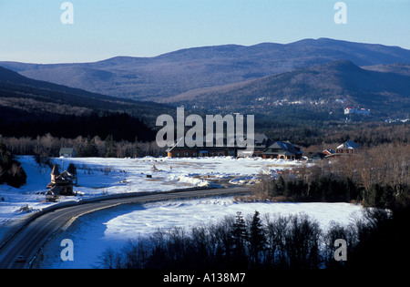 Crawford Depot train station in New Hampshire s White Mountains From Elephant Head. AMC s Highland Center in distance. - Stock Photo