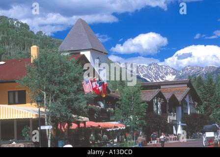 Street Scene In Vail Colorado USA looking toward the Gore Mountain Range - Stock Photo