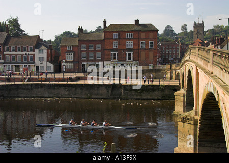 Thomas Telford's bridge over the River Severn (built 1808), Bewdley, Hereford and Worcester, England - Stock Photo