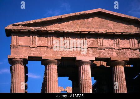 Sicily temple of Concord at Agrigento. Detail of western pediment seen against blue sky - Stock Photo