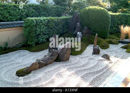 Zen raked gravel garden at Zuiho-in within Daitokuji Temple Kyoto Japan - Stock Photo