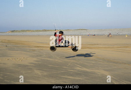 Kite Buggying on beach at Westward Ho North Devon England - Stock Photo