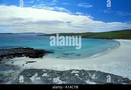 Beach on Vatersay island off Barra Outer Hebridies Scotland 1998 ish - Stock Photo