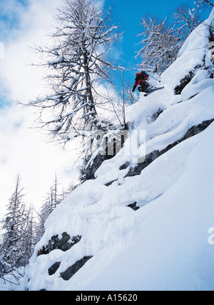 Skier leaping through trees on a very steep slope - Stock Photo