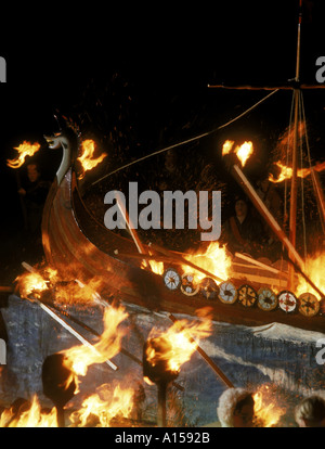 Up Helly AA Festival Shetlands Scotland A Woolfit - Stock Photo