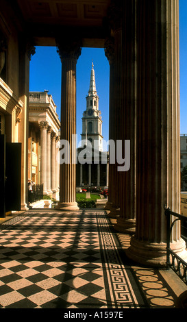 St Martin in the Fields seen from the National Gallery Trafalgar Square London England UK A Woolfitt - Stock Photo
