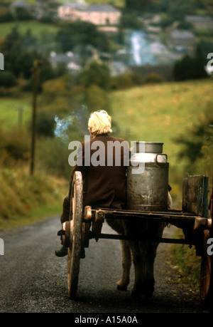 Figure riding cart with milk churn Arigna Shannon River Co Leitrim Ireland A Woolfitt - Stock Photo